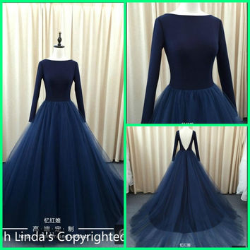 2016 Stylish navy blue long sleeve sheer back sexy prom dresses real picture scoop neckline formal prom gowns hot sale
