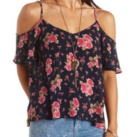 Floral Print Cold Shoulder Swing Top by Charlotte Russe - Navy Combo