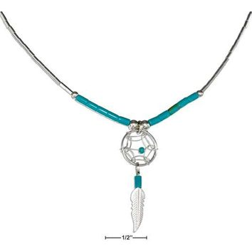 """Sterling Silver 20"""" Dreamcatcher Necklace With Feather And Turquoise Heishi"""