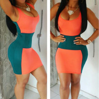 Orange&Green Stitching Bodycon Dress