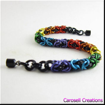 Chain Maille Bracelet Byzantine Weave Chainmail Rainbow