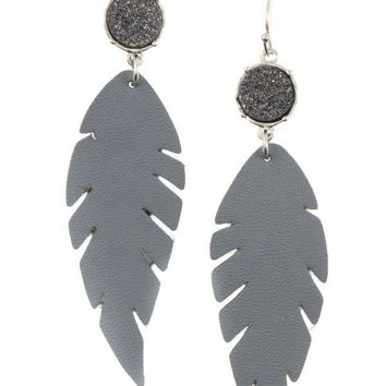 Druzy stone accent feather earring
