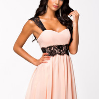 Pink Sleeveless Lace Chiffon Skater Dress