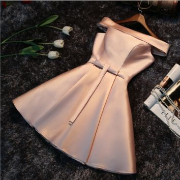 New evening dress bride toast service bridesmaid dress short bridesmaid dress moderator evening dress skirt Pink