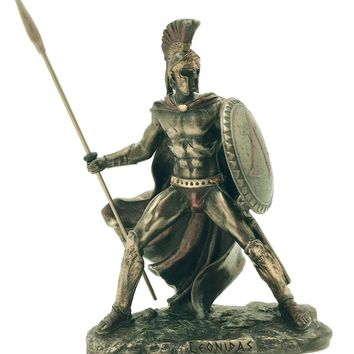 Leonidas Greek Warrior with Spear and Shield Miniature Statue 4H