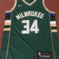 Milwaukee Bucks #34 Giannis Antetokounmpo Green Swingman Jersey S--XXL