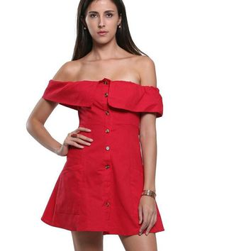 3 Colors Off Shoulder Ruffled Buttoned Up Mini Skater Tube Dress Pockets Casual A Line Sexy Clubwear Streetwear Summer