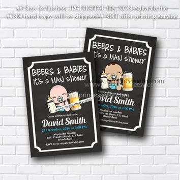 baby shower invitation, MAN SHOWER, Beer and babies Diaper , Beer and Diaper , Party for Dad - card 362