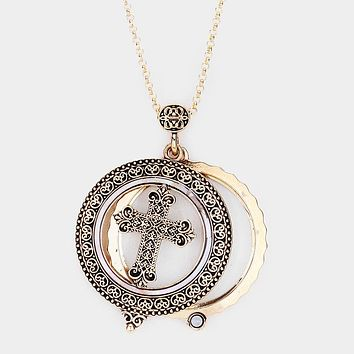 Abalone Antique Cross Pendant Magnifying Glass Long Necklace