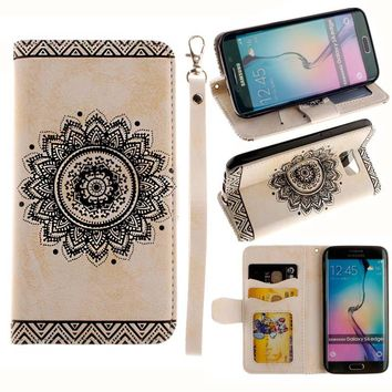 Luxury Leather Flip Case For Samsung S8 S 8 Plus Cover Datura flower Pattern Wallet Phone Bags For Samsung S5 S6 S7 edge Fundas