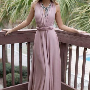 Fashion Elegant V Neck Sleeveless Backless Long Prom Dress Maxi Dress