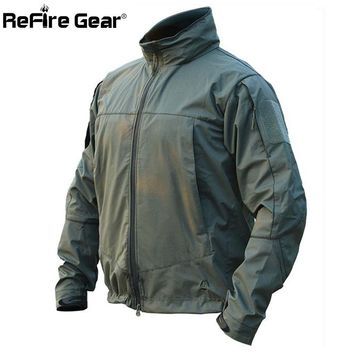 ReFire Gear Autumn Tactical Soft Shell Military Jacket Men Waterproof Hooded Windbreaker Coat Spring Casual Field Army Jackets