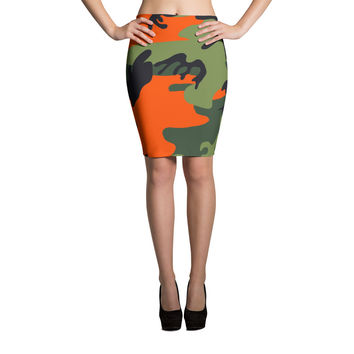 Orange Camouflage Pencil Skirt