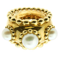 Chanel Pearl Dome Gold Ring