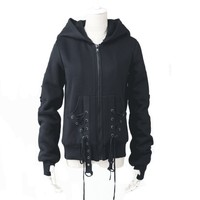 Black Sweatshirt with Lace Up Pockets and Oversized Hood Design