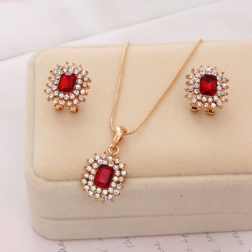 2016 Jewelry Set 18k Gold Plated Necklace Earrings 2pcs/set Wedding Party Gift Bridal Red Costume African Jewelry Set