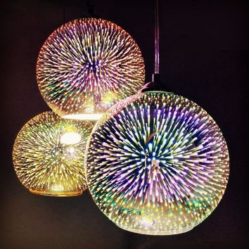 LED Pendant LightColorful Plated Glass Mirror Ball