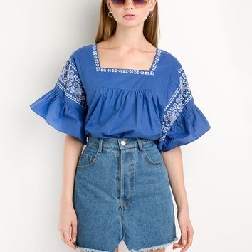 Blue Embroidery Ruffled Sleeve Top