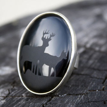 onyx ring statement sterling ring deer jewelry black stone bold womens ring