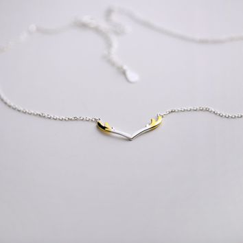 925 sterling silver  smooth double color antlers necklace