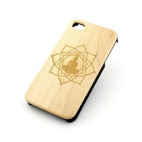 GENUINE WOOD Organic Snap On Case Cover for APPLE IPHONE 5 / 5S - LOTUS BUDDHA hindu ohm floral indian ganesh goddess