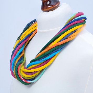 Multicolor thick necklace, twist felt rope, merino wool [N29]