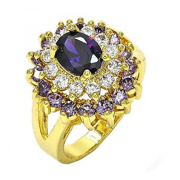 Gold Layered Multi Stone Ring, with Cubic Zirconia, Golden Tone