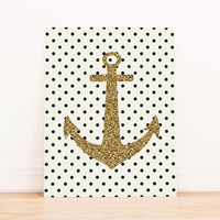 Gold Anchor with Black Polka Dots PRINTABLE ART Dorm Decor Apartment Art Office Art Nautical Art