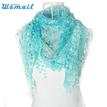 Womail  Good Deal  New Fashion Lace Tassel Floral Print  Mantilla Scarf Shawl For Womens Girls Perfect Gift  1PC