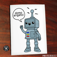 Funny Thank You Card - Domo Arigato Mr. Roboto - Japanese Theme Thank You - Kawaii Sweet Cute Greeting Card - 4.5 X 6.25 Inches