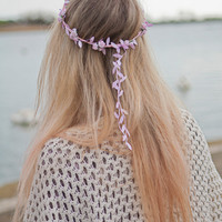 Baby Pale Pink Floral and Pink Ivy Leaf Trim Fairy Festival Flower Hair Crown Hair Garland