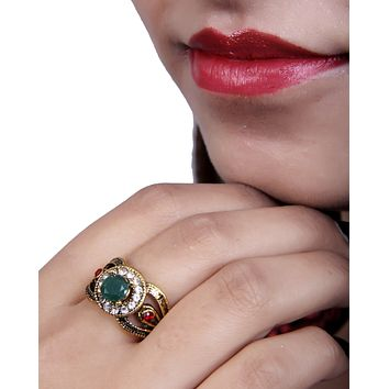 Antique Gold Designer Ad Ring withEmerald and Red Stone