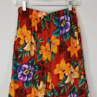 90s Tropical Floral Shorts Skirt Small Soft Grunge Hipster 1990 Tumblr Lily Bright Red Orange Womens Vintage Clothing Tribal Geometric