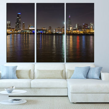 LARGE wall art Canvas Print Chicago Skyline wall Art Extra La : city skyline wall art - www.pureclipart.com
