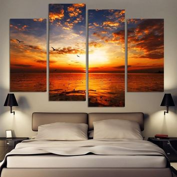 4pcs/set Sea Sunset Home Wall Decor Canvas Picture Art HD Print Painting Canvas Arts Without Frame