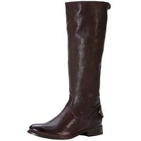 Melissa Button Back Zip Boot in Dark Brown by The Frye Company - FINAL SALE