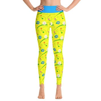 Easter Leggings - Easter Flower Leggings - Flowers - Yellow Flower Leggings - Yoga Leggings