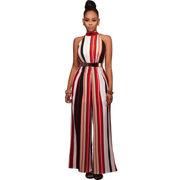 Red Vertical Stripe Sleeveless Women Jumpsuit with Gold Belt