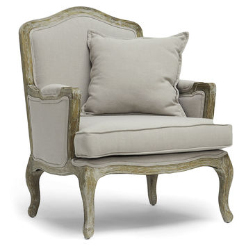 Walt Classic French Chair, Light Gray, Accent & Occasional Chairs