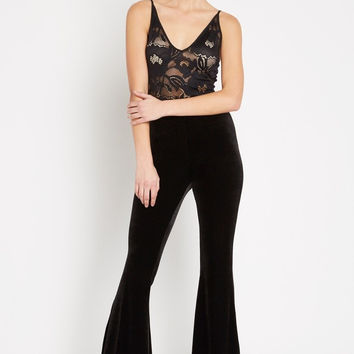 Velvet High Waisted Bell Bottom Pants
