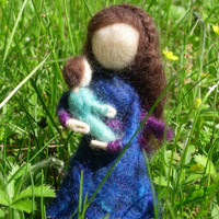 Mother and Child Needle Felted Dolls with Pipe Cleaner Base