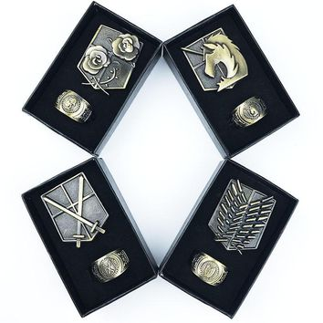 Cool Attack on Titan  Pins Brooches Scouting Legion Trainee Squad Military Police Regiment Stationed Corps Metal Badges Cosplay Gift AT_90_11