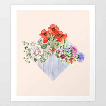 Floral Blocks Art Print by creativeaxle