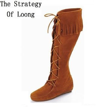 Europe America Flats Lace Up Tassel Nubuck Leather Spring Autumn Winter Women Knee High Boots Lady Fringe Flock 35-40 SXQ0605