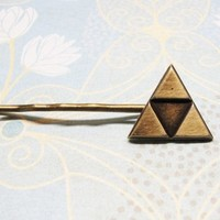 Bronze Triangle Bobby Pin, hair clip, inspired by Zelda Triforce