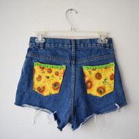 High Waisted Denim Shorts w Sunflower Pockets & Lace // Made from Basic Editions Jeans // Soft Grunge Revival Boho Festival Fashion, Sz S/XS