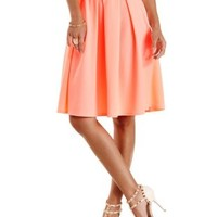 Neon Coral Textured & Pleated Full Midi Skirt by Charlotte Russe