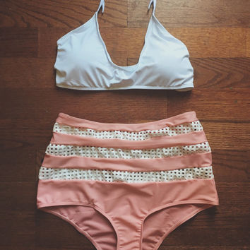 Vintage Inspired Pink and White High Waisted Bikini