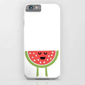 CHEERING HAPPY WATERMELON iPhone & iPod Case by deificus Art