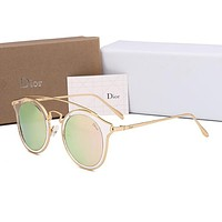 Dior Popular Ladies Summer Style Lovely Circular Frame Sun Shades Eyeglasses Glasses Sunglasses Pink I12724-1